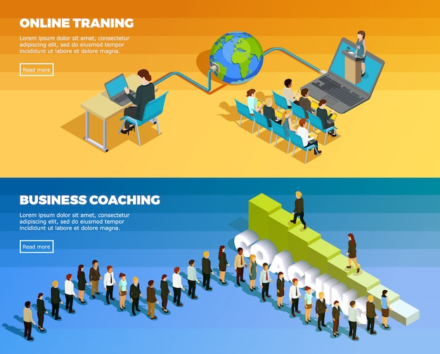 Business education isometric horizontal banners Free Vector