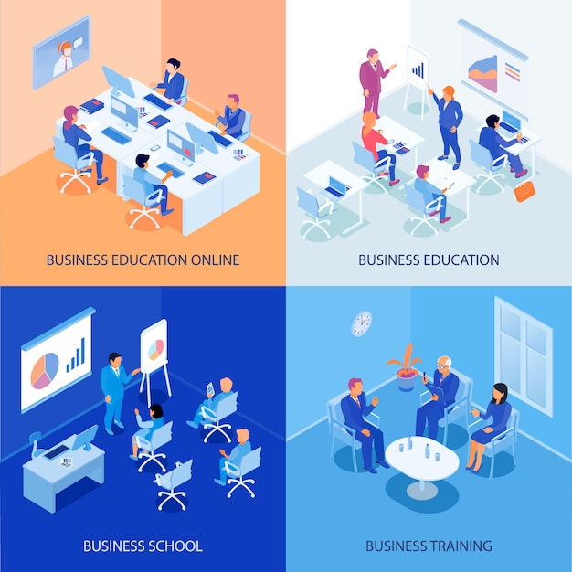 Business education isometric Free Vector