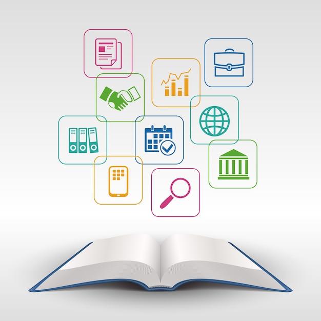 Открытая книга концепции бизнес-образования векторные иллюстрации Бесплатные векторы