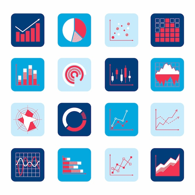 Business elements dot bar pie charts diagrams and graphs icons set isolated . Free Vector