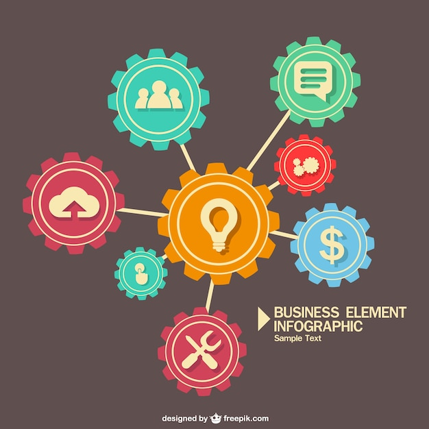 Business elements infographic in gears Free Vector