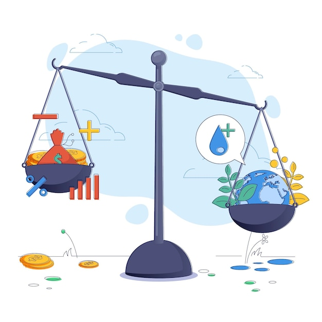 Business ethics concept illustration with balance Free Vector