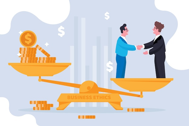 Business ethics concept illustration with businessmen and balance Premium Vector