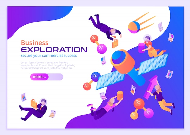 Business exploration color poster with people flying in space near satellites in zero gravity isometric Free Vector