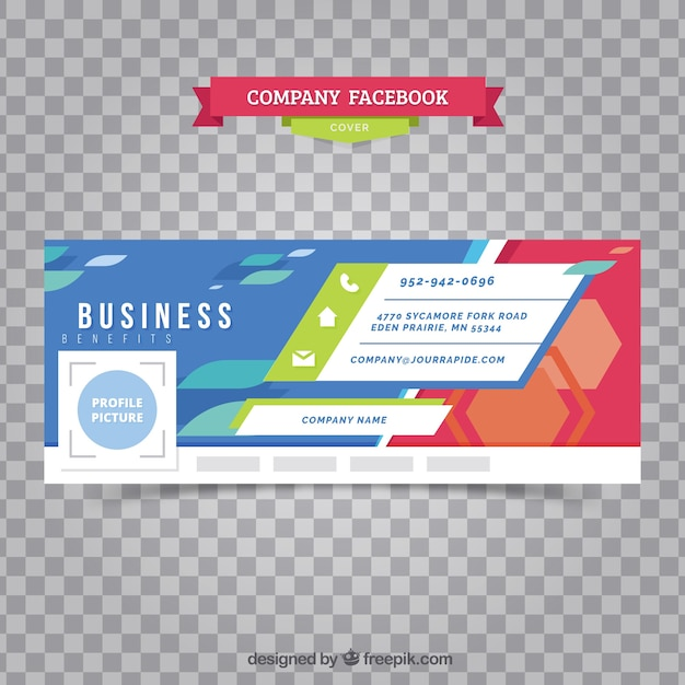 Business facebook cover with abstract shapes