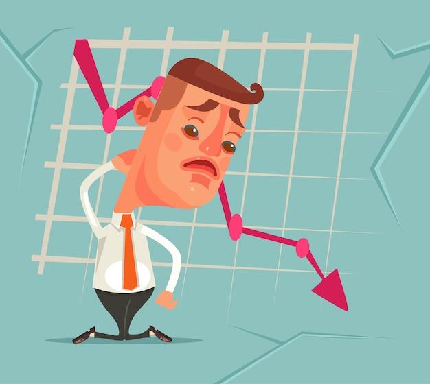 Бизнес-неудача график вниз грустный несчастный офисный работник плоский мультфильм иллюстрация Premium векторы