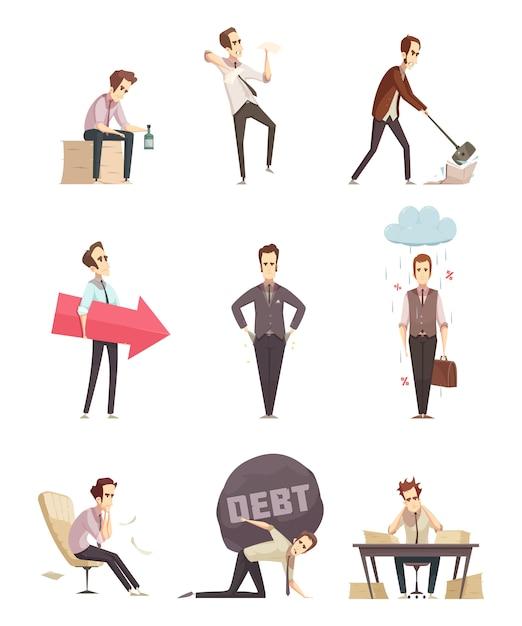Business failure retro cartoon icons Free Vector