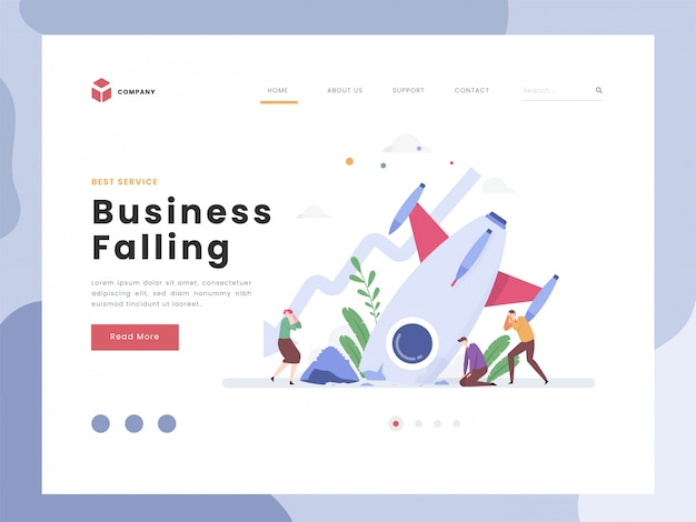 Business falling landing page template Premium Vector