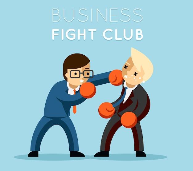 ビジネスファイトクラブ。ボクシングとグローブ、ビジネスマンと暴力、ボクサーの強さ。 無料ベクター