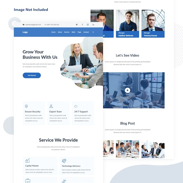 Business and finance agency email landing page Premium Vector