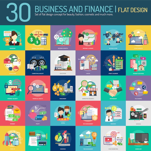 Business and finance collection design Free Vector