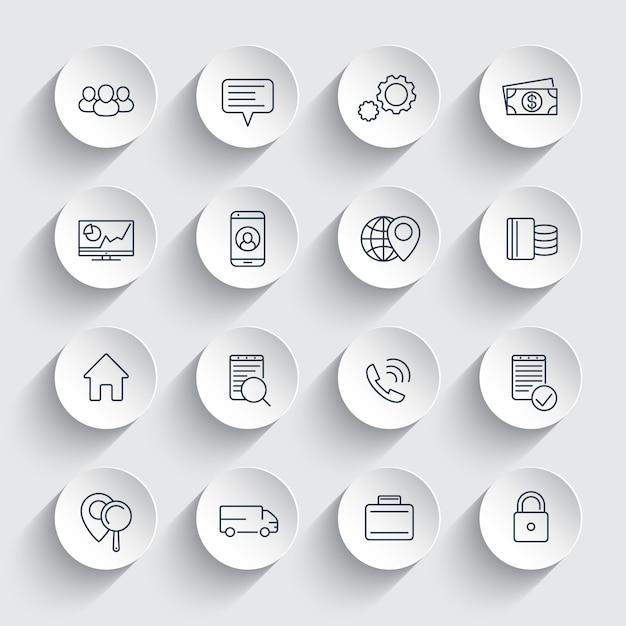 Business, finance, commerce, enterprise line icons on round 3d shapes, business pictograms, Premium Vector