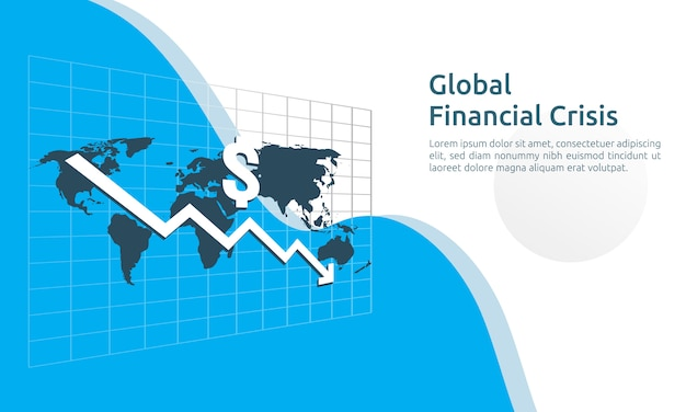 Business finance crisis banner Premium Vector