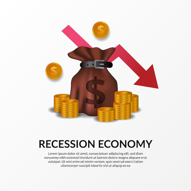 Business finance crisis. global economy recession. inflation and bankrupt. illustration of money bag, golden money and red bearish arrow Premium Vector
