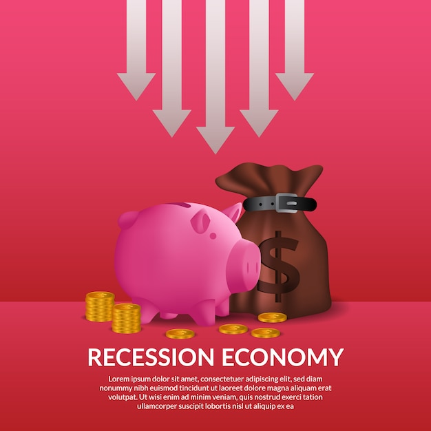Business finance crisis. global economy recession. inflation and bankrupt. illustration of money bag, piggy bank, and golden money with drop arrow Premium Vector