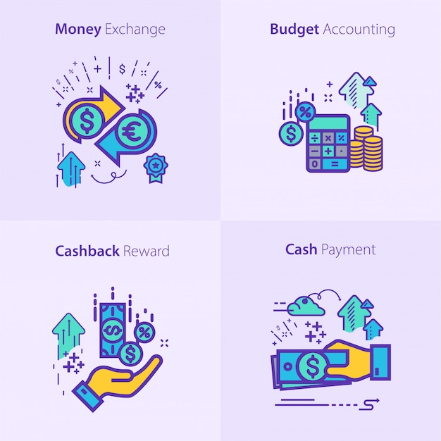 Business and finance icon set concept Premium Vector