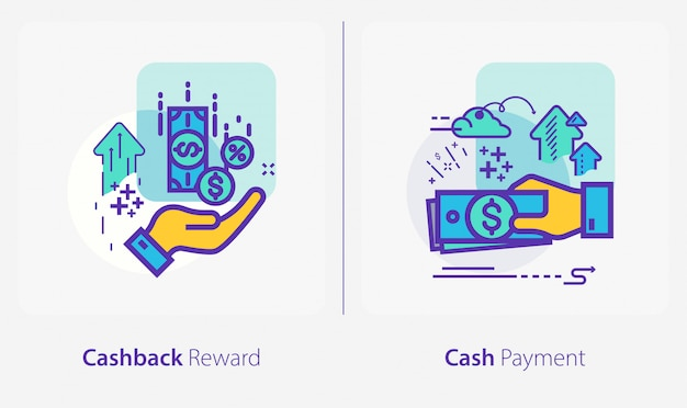 Business and finance icons, cashback reward, cash payment Premium Vector