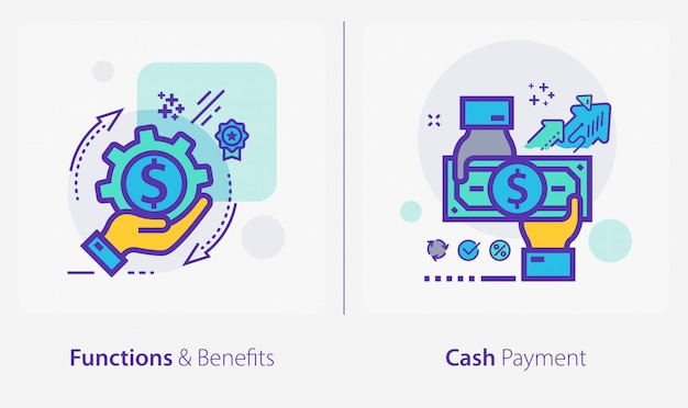 Business and finance icons, functions and benefits, cash payment Premium Vector