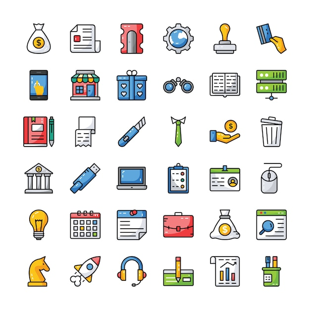 Business and finance icons set Premium Vector