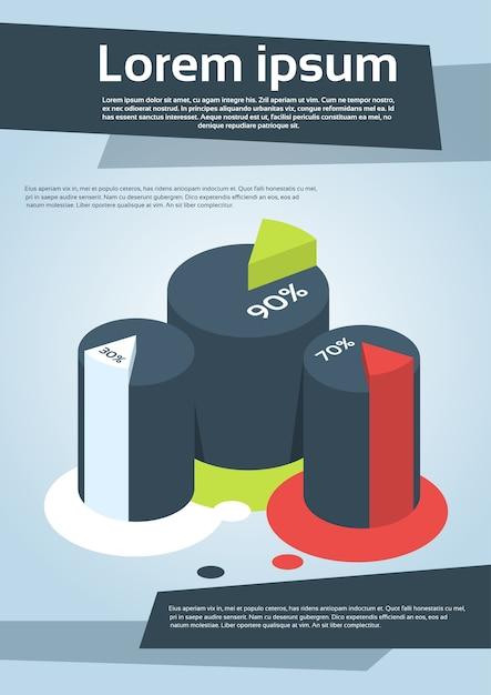 Business financial cylinder chart diagram flyer Premium Vector