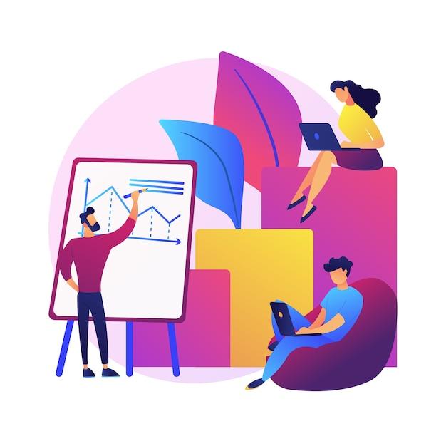 Rapporto finanziario aziendale. personaggi dei cartoni animati di imprenditori che scrivono business plan, analizzano dati e statistiche. grafica, informazione, ricerca Vettore gratuito