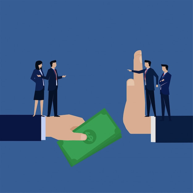 Business flat  businessman corruption give money to manager who refuse. Premium Vector