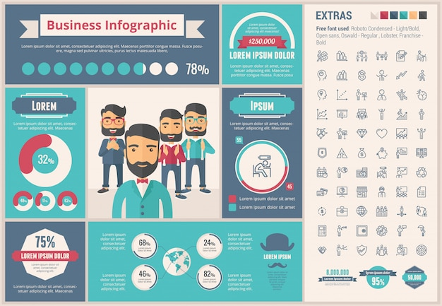 Business flat design infographic template and icons set Premium Vector
