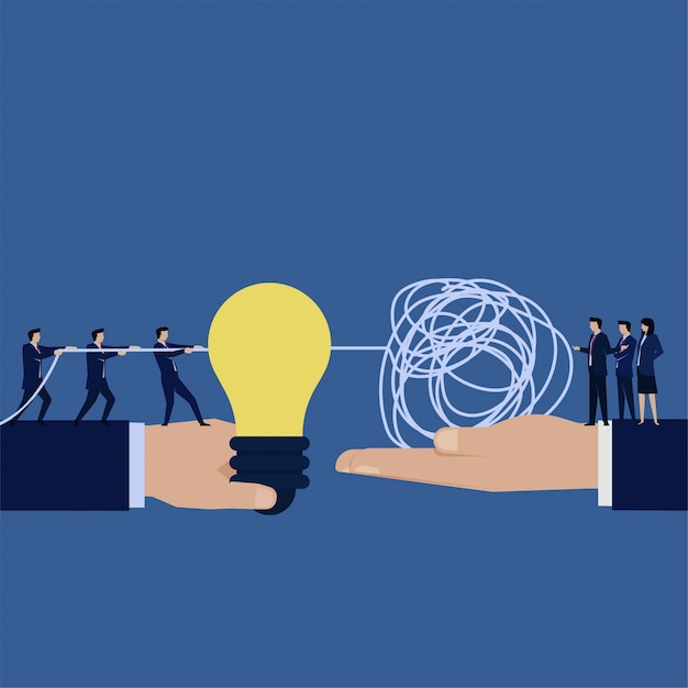Business flat  hand hold idea and other hold tangled string metaphor of problem solving and solution. Premium Vector