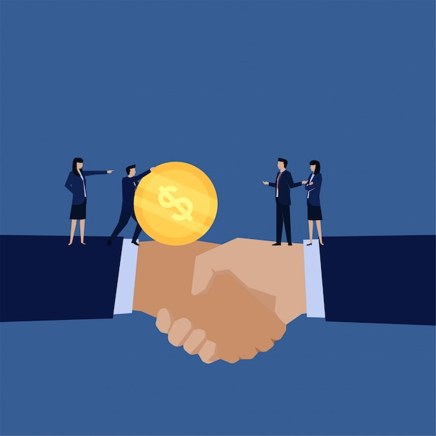 Business flat handshake and manager send money to other metaphor of profit sharing. Premium Vector