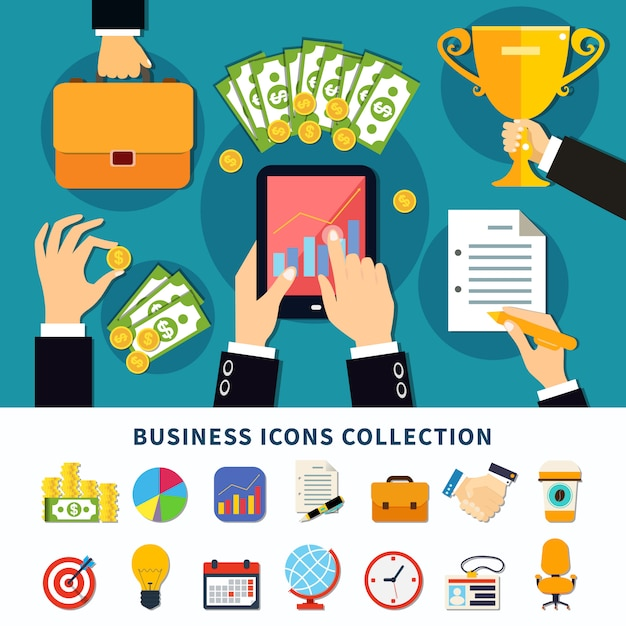 Business flat icons collection Free Vector