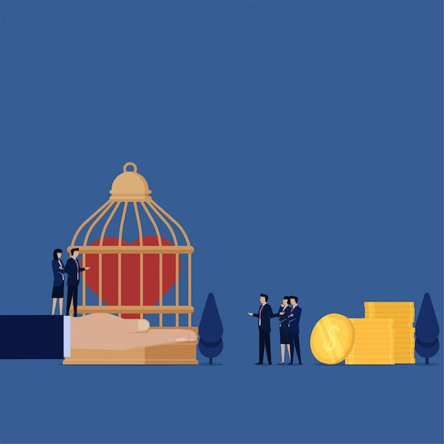 Business flat illustration concept man pay for heart on the cage metaphor of health insurance. Premium Vector