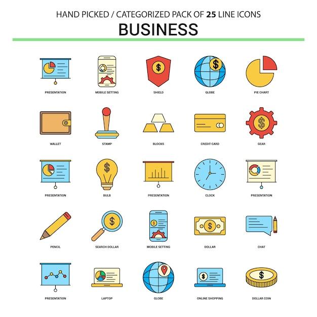 Business flat line icon set Premium Vector