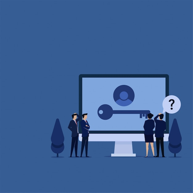 Business flat   team confuse while see missing key on screen  of forget password. Premium Vector