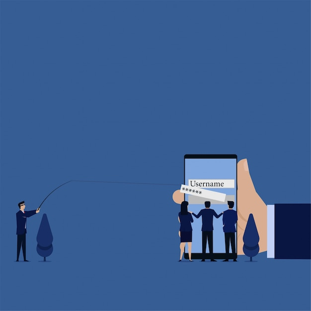 Business flat thief pull out password from phone metaphor of phishing and hacking. Premium Vector
