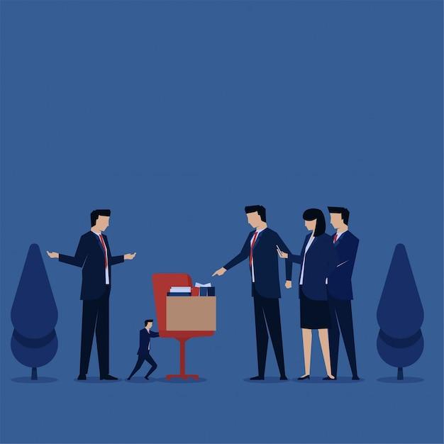 Бизнес плоский вектор концепции бизнесмен подтолкнуть кресло среди больших людей метафора дискриминации и хулигана. Premium векторы