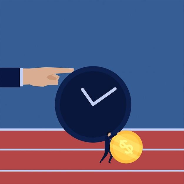 Бизнес плоский вектор концепции бизнесмен нажать монету, чтобы запустить с метафорой времени управления временем. Premium векторы