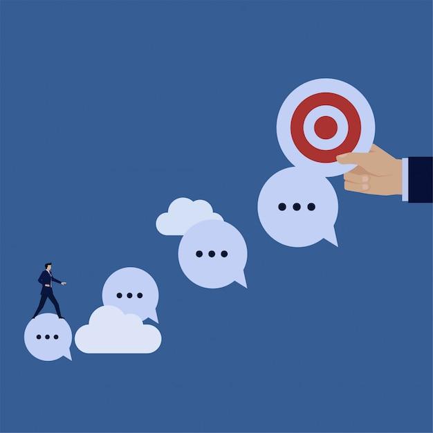 Business flat vector concept businessman ride chat bubble to target metaphor of follow message. Premium Vector