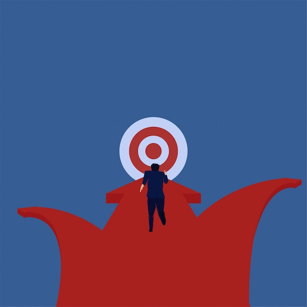 Business flat vector concept businessman run straight to target metaphor of focus. Premium Vector