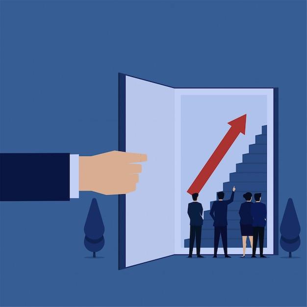 ビジネスフラットベクトルコンセプトマネージャーは、知識と成長の開いた本のメタファーに階段を指します。 Premiumベクター