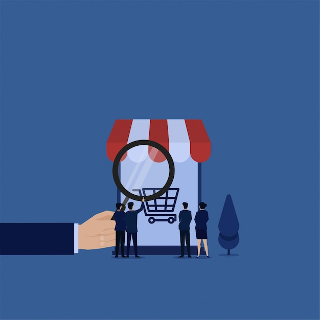 Business flat vector concept team check cart on phone with magnify metaphor of market research. Premium Vector