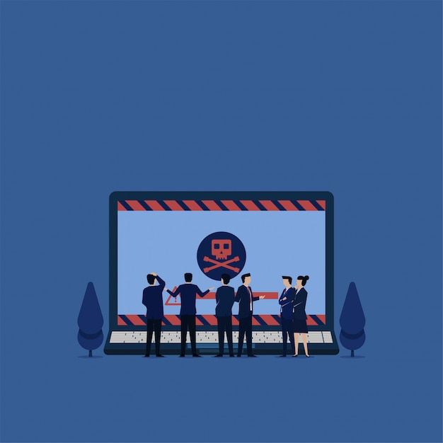 Business flat vector concept team confuse to see laptop with virus metaphor of ransomware. Premium Vector