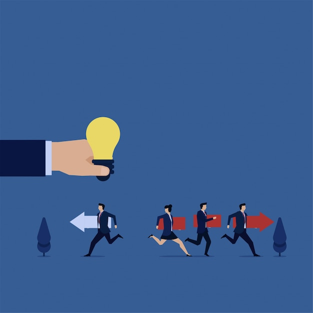 Business flat vector concept team run follow the leader and businessman run bring his path metaphor of think different. Premium Vector