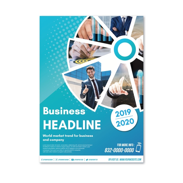 Business flyer abstract with image Free Vector