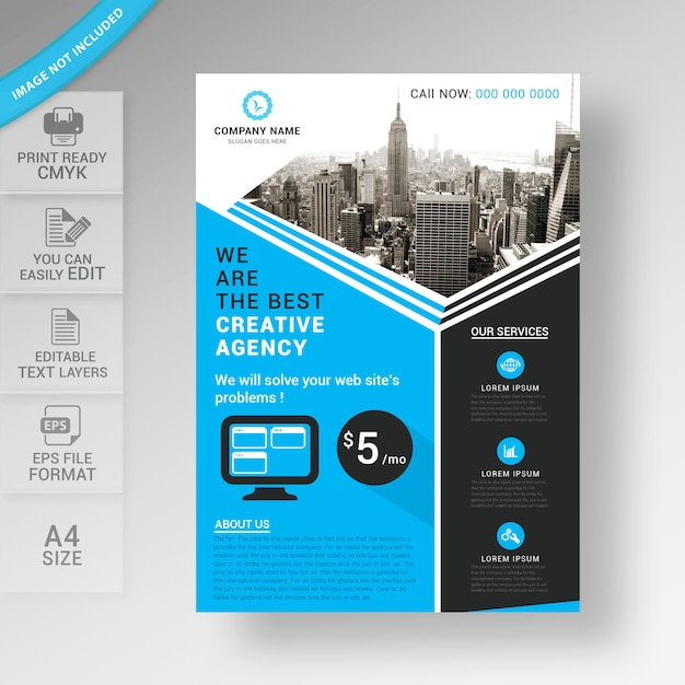 Business flyer brochure template design Premium Vector
