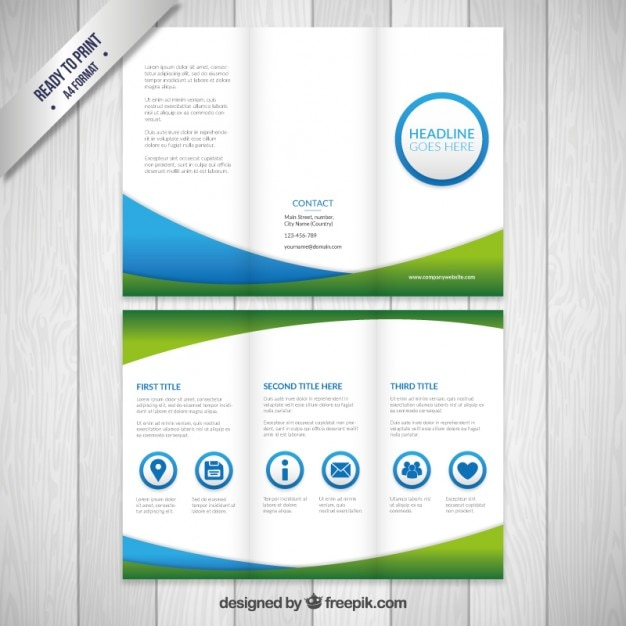 Business flyer in green and blue colors Vector | Free Download