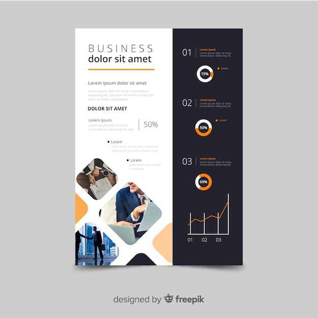 Business flyer mosaic template Free Vector