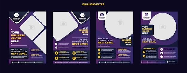 ビジネスチラシは、年次報告書会社の紫色の企業テンプレートデザインを設定します Premiumベクター