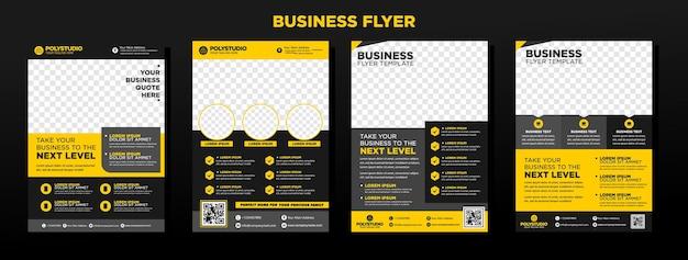 ビジネスチラシは、年次報告書会社の黄色の企業テンプレートデザインを設定します Premiumベクター
