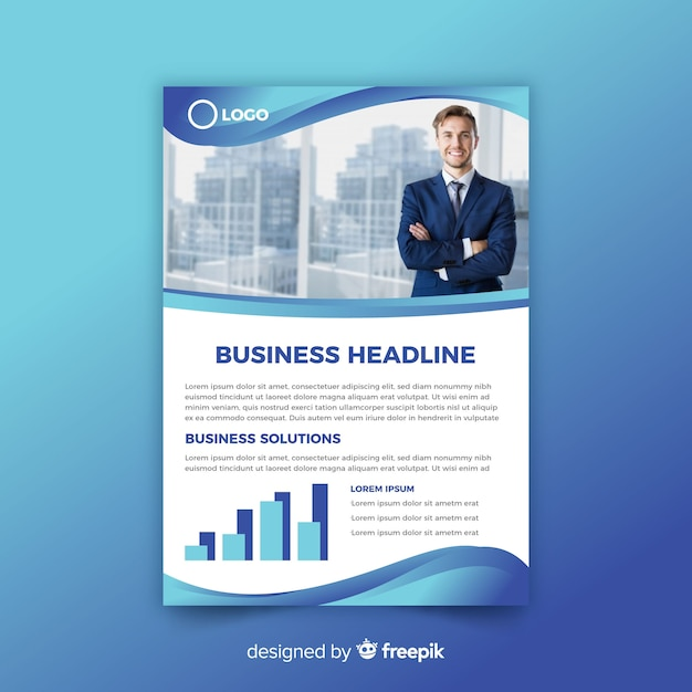 Business flyer template in abstract style Free Vector