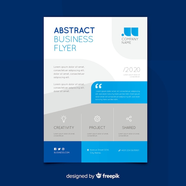 Business flyer template with abstract shapes Free Vector
